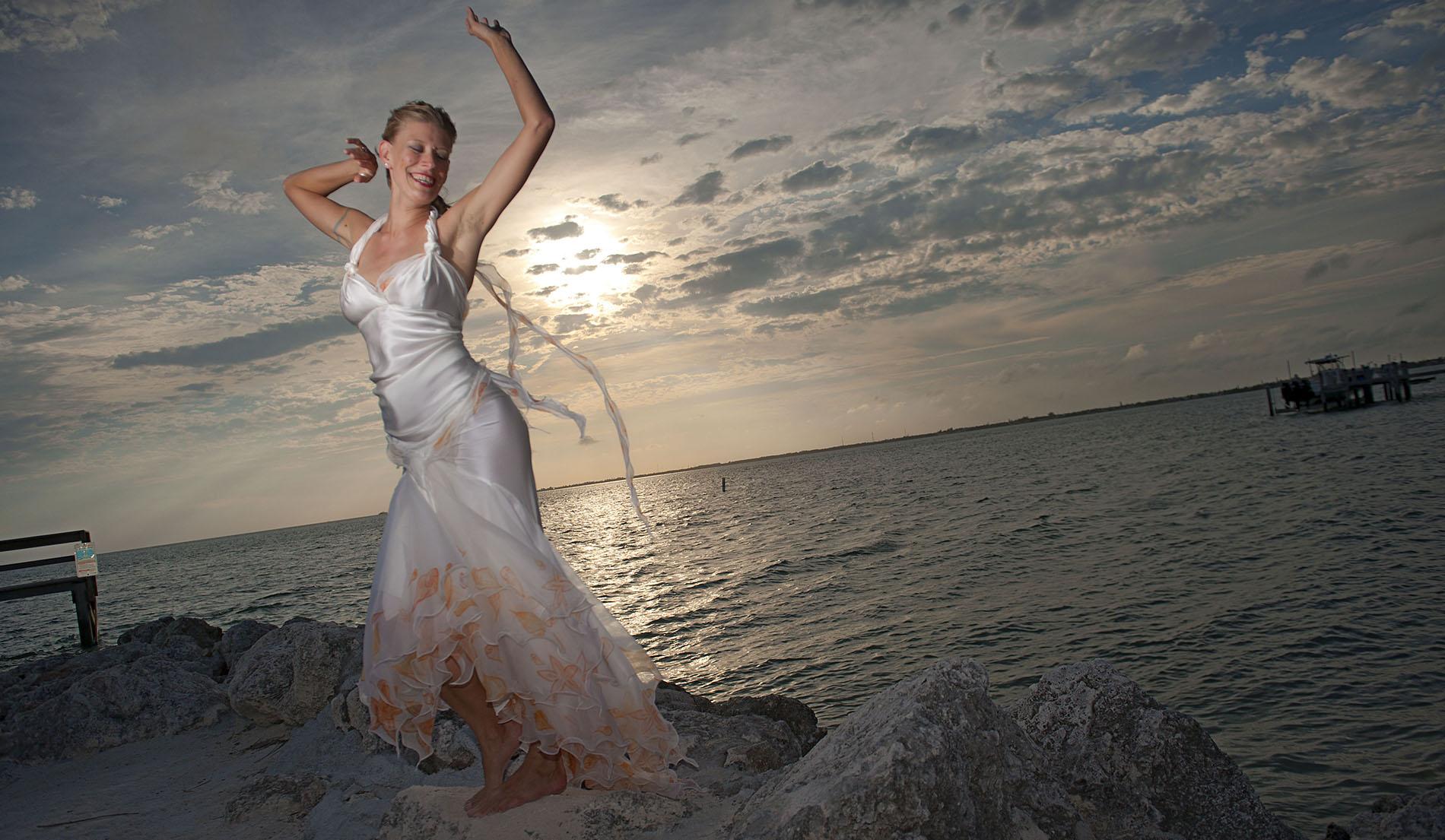 Non Traditional Beach Wedding Dress For Older Bride
