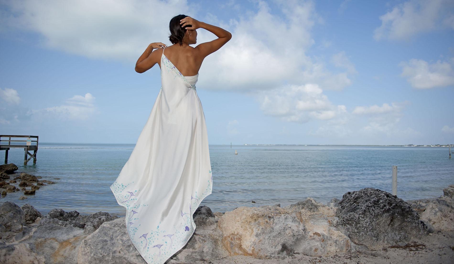 Look book for naomi custom silk beach wedding dresses for Cinched waist wedding dress